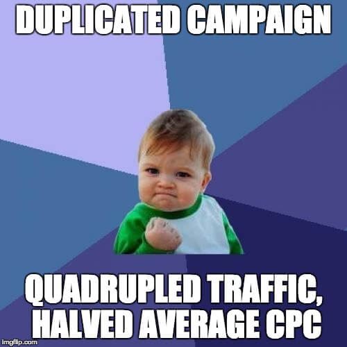 quadrupled traffic